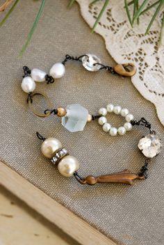 Emma Rhinestone Freshwater Pearl Vintage Style Bracelet Tiedupmemories