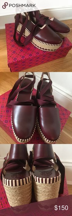 Tory Burch Dandy Espadrille Wedge Brand new!! Never been worn. Port Royal color. Tory Burch Shoes Espadrilles