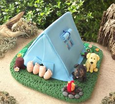 Unique Camping wedding cake topper with dogs by PassionArte, via Flickr