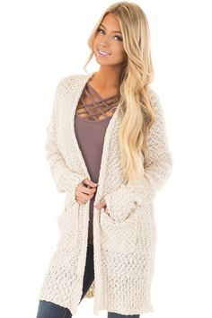 09d4708e31 Lime Lush Boutique - Cream Long Sleeve Open Cardigan with Front Pockets