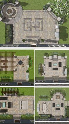 Backyard Plan, Small Backyard Landscaping, Backyard Pools, Backyard Ideas, Patio Ideas, Patio Plans, Landscaping Ideas, Concrete Patio Designs, Outdoor Patio Designs