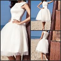 Wholesale Discount Ball Gown princess round neck knee length Applique Tulle short wedding dress