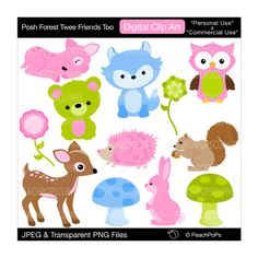 animal clip art clipart cute woodland digital clipart  original, deer, owl - Posh Forest Twee Friends Too - Personal Commercial Use. $5.00, via Etsy.