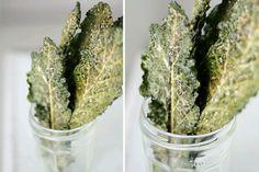 Kale crisps. Toss in oil. Salt. Bake at 180 for 30mins. Yummo