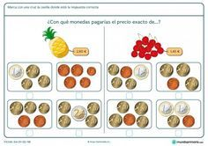 Ficha de indicar el precio exacto de las cerezas para primaria Maila, Activity Games, Teaching Math, Euro, Spanish Class, Mathematics, Autism, Charts, Cash Management