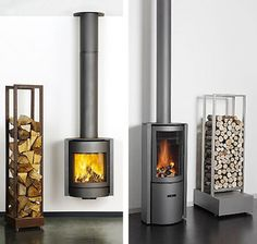 minimalist wood stove fireplace ideas- I'll take.either one!
