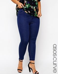 ASOS Curve ASOS CURVE Exclusive High Waist Ankle Grazer  Plus Size Jeans In Indigo With Let Down Hem - indigo