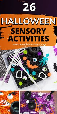 26 Sensory Activities for Halloween. 26 fun and easy halloween sensory play ideas for toddlers, preschoolers and kindergarten. #halloween #sensory #toddlers #preschool #halloween Sensory Bins, Sensory Activities, Sensory Play, Halloween Activities For Kids, Halloween Themes, Preschool Halloween, Science Experiments Kids, Easy Halloween, Kids House