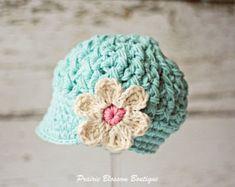 Crochet Toddler Hat, Robin's Egg Blue Hat for Girls, Crochet Hat with Flower, Toddler Newsboy Hat, 12 Months to 4T