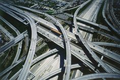 Stock Photo titled: Aerial View Of Freeway Interchange In Los Angeles Like Cement Spagetti, unlicensed use prohibited