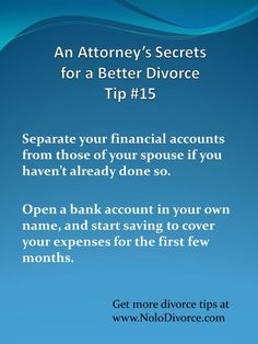 Divorce expert attorney Ed Sherman shares this tip on bank accounts during divorce. www.NoloDivorce.com