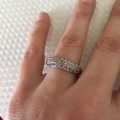 White Gold Plated Ring. 18K white gold plated brass cubic zirconia ring with bright crystals. Brass CT Jewelry Rings