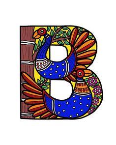 Madhubani Painting Digital Art - B For Birds by Archa Malhotra Ancient Indian Art, Indian Folk Art, Alphabet Art, Letter Art, Madhubani Art, Madhubani Painting, India Art, Indian Art Paintings, Typography Art