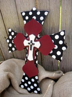Polka dot and Red Hand Painted Wooden Cross. $24.00, via Etsy.