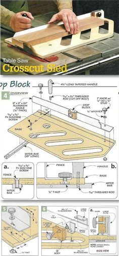 Table Saw Crosscut Sled - Table Saw Tips, Jigs and Fixtures | WoodArchivist.com