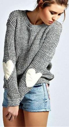 Knit Gray Long Sleeve Pullover Sweater with Heart Patches