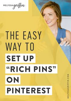 Here is a simple pinterest tip on how to set up rich pins for your business! #pinterestmarketing #MelyssaGriffin Small Business Marketing, Business Tips, Online Business, Creative Business, Business Planning, Online Marketing, Social Media Marketing, Marketing Tools, Affiliate Marketing