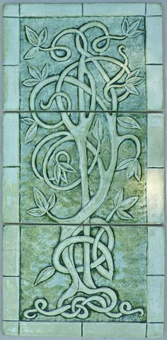10 x 21 relief carved Celtic tree of life set  3 pieces  $139.95 Shown in Dark green UG (mossy dark green background) with a clear gloss glaze finish