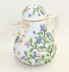 ERNST BOHNE & SONS 19th Century Porcelain Teapot Insects Raised Flowers Design w/ Gold Gilt