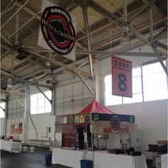 Putting the finishing touches on our booth and we are ready to go! International Beer Festival at Fort Mason