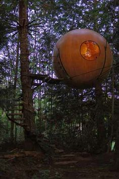 """Free Spirit Spheres - The """"Spherical Tree House"""" concept borrows heavily from sailboat construction and rigging practice. It's a marriage of tree house and sailboat technology. Located in BC, Canada Tree House Resort, The Places Youll Go, Places To Go, Recycled House, Unique Trees, In The Tree, Vancouver Island, Free Spirit, The Good Place"""