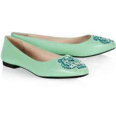 Kenzo Mint Tiger Flats ($238) ❤ liked on Polyvore