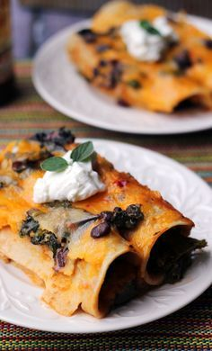 Black Bean and Kale Enchiladas with Ranchero Sauce - Joanne Eats Well With Others