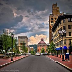 Asheville, NC at downtown Pack Square Park.