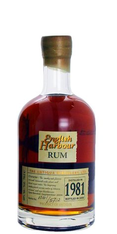 English Harbour Produced in 1981 from the distillery's muscovado molasses, aged for 25 years in used Whisky and Bourbon barrels, and bottled in 2006 to make for a high grade Rum every Rum aficionado should try. Alcohol Bottles, Liquor Bottles, Tequila, Vodka, Rum Beer, Whisky Club, Sugarcane Juice, Good Rum, Cocktail Mix