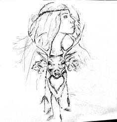 #design #tattoodesign #freedom #rose #love #woman #deer #dream #art #myart #drawing