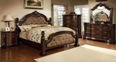 Frederic Low-Poster Bed with Dark Brown Leatherette Upholstered Headboard.