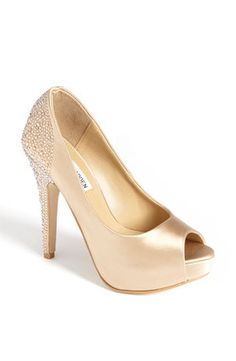 Steve Madden blush and crystal wedding shoes