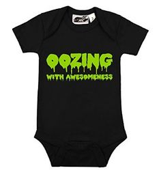 Oozing With Awesomeness Black One Piece by My Baby Rocks Funny Infant Clothing