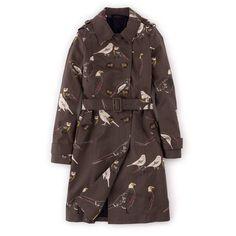 Boden Autumn Trench (7.835 RUB) ❤ liked on Polyvore featuring outerwear, coats, khaki bird print, khaki trench coat, khaki coat, trench coat, brown coat and boden