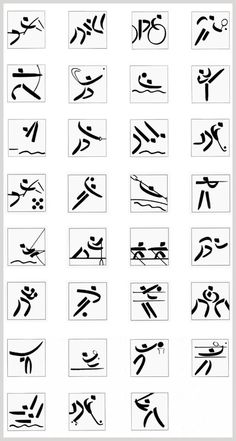 1992 Barcelona Pictograms - In Barcelona, though the Munich shapes were still used as a starting point, the break in style was more audacious, as the geometric formula was abandoned in favour of the characteristic line of the emblem created by Josep. M. Trias and its representational simplification of the human body in three parts (head, arms and legs) was also adopted.