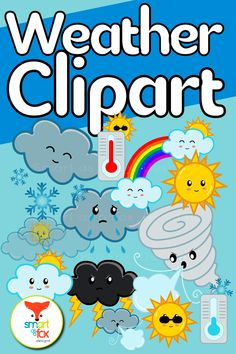 Adorable set of cute weather clipart! Thermometers, clouds, lightning, sun, cyclone, tornado, snowy clouds, and rainbow included! click to find out more! #teacherspayteachers #weather Math Clipart, Snowman Clipart, Science Clipart, Winter Clipart, Christmas Clipart, Valentines Day Clipart, Sun With Sunglasses, Fox Design, Teaching Materials