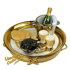 Champagne and Caviar Tray for Two Limoges Box (Beauchamp)