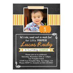 """Chalkboard Pumpkin 1st Birthday Invitation 5"""" X 7"""" Invitation Card"""