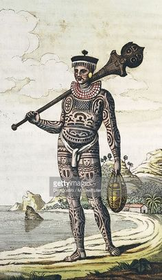 Illustration : Tattooed natives from island of Nuku Hiva, Marquesas Islands, engraving by Rainier from account of Adam Johann von Krusenstern's journey between 1803 and Polynesia, century Native Tattoos, Warrior Tattoos, Ethnic Tattoo, Tribal Tattoos, Tatoos, Large Tattoos, Black Tattoos, Marquesas Tattoos, Historical Tattoos
