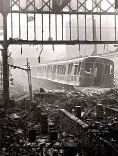 Wartime view of the Metropolitan line platforms at Moorgate station, London, showing the devastation caused by a German air raid - London History, World History, World War Ii, Tudor History, British History, Vintage London, Old London, Blitz London, London City