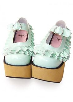Platform Mint Green PU Lolita Shoes