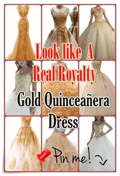 Quinceanera Guide - Gold Quinceanera Dresses In Autumn Shades. Pick one of these Gold quinceanera dresses for the big day of yours! Different Dresses, Unique Dresses, Cute Dresses, Prom Dresses, Pretty Quinceanera Dresses, Quinceanera Party, Gold Dress, Pink Dress, Quince Dresses