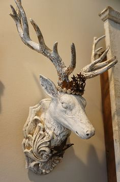 Buck head wall mount French farmhouse distressed white deer deep taupe tones figure embellished handmade crown home decor anita spero design Museum Lighting, Sculpture Ideas, Home Office Decor, Home Decor, Seasonal Flowers, French Farmhouse, Flower Crown, Gold Leaf, Wicca