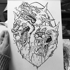 Lineart for a tattoo design commission of Cerberus! Gonna paint this too! #Cerberus #wolf #dragon ...