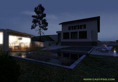 EXTERIEUR vue de nuit Maison Voiron (Isère - 38) / Piscine - Cuisine d'été - Poolhouse// Aménagement paysagé réalisé par CADYPSO (Architecture d'intérieur - Agencement Magasins - ERP - Particuliers)