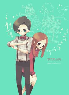 The Eleventh Doctor and Amy Pond, anime style