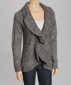 Take a look at this Marled Gray Ruffle Open Cardigan on zulily today!