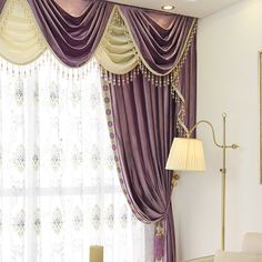 New arrival Twynam Purple and Red Waterfall and Swag Valance and Sheers Custom Made Chenille Velvet Curtains Pair - - Custom Curtains Drapes Draperies Sheers Rods and Tracks Scarf Curtains, Drapes Curtains, Waterfall Valance, Velvet Drapes, Tuscan Design, Pergola Attached To House, Custom Curtains, Window Treatments, Master Bedroom