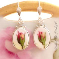 Old Country Roses, Broken China & Sterling Silver Earrings. Crackedupjewelry.com image.jpg