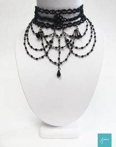 KONNOO 'Forbidden Fruit' Victorian Burlesque Gothic Black Beaded Choker Necklace Konnoo http://www.amazon.com/dp/B00HS12B0Q/ref=cm_sw_r_pi_dp_O9K8tb028JSQD